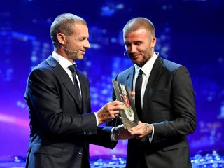 UEFA Presidents Award Recipient David Beckham receives the award f